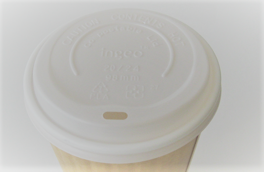 20 oz White Compostable Hot Cup Lid