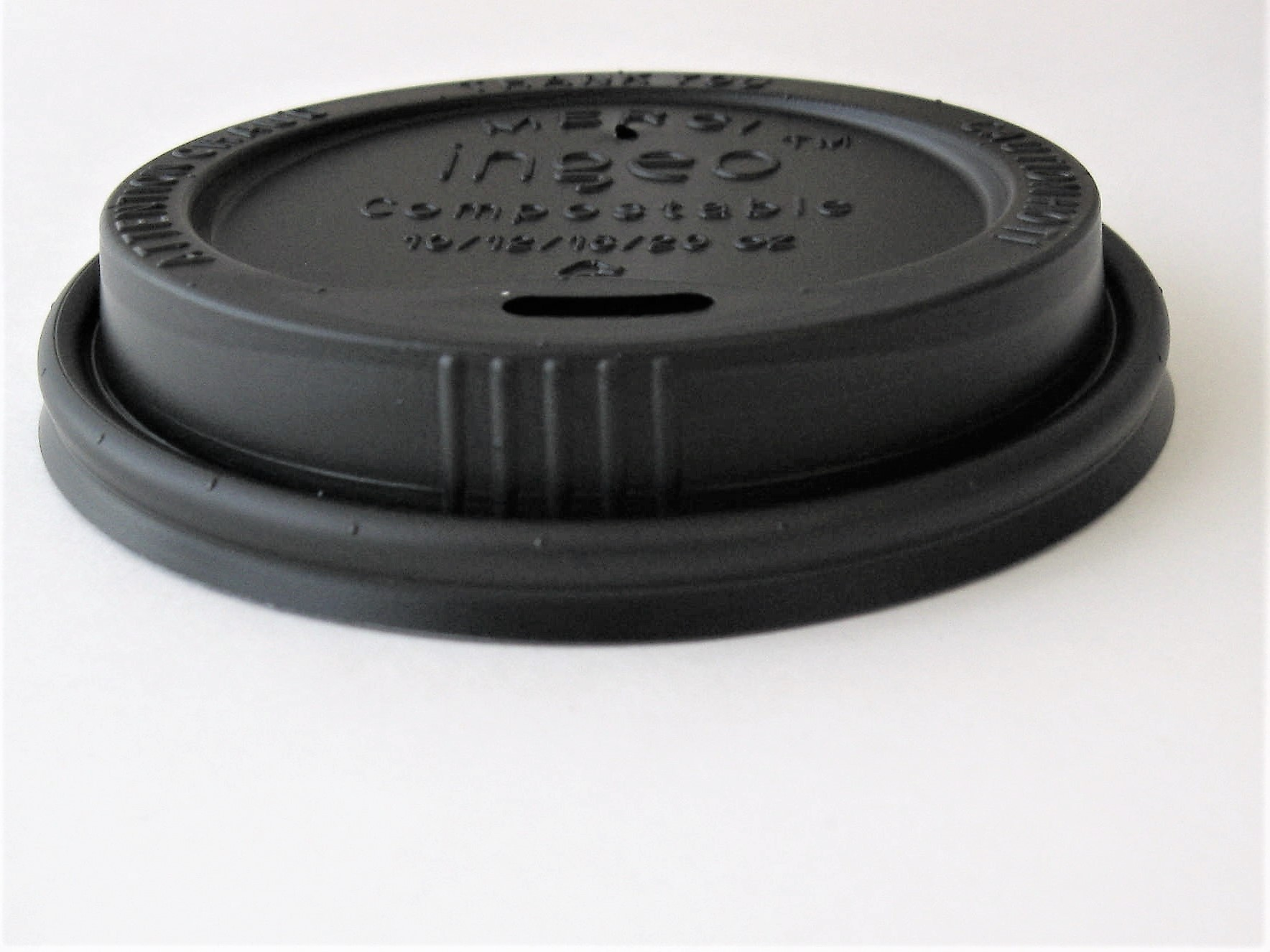 8 oz Black Compostable Hot Cup Lid